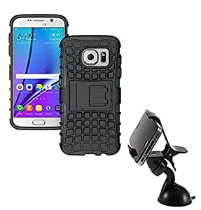 Aart Hard Dual Tough Military Grade Defender Series Bumper back case with Flip Kick Stand for Samsung S7 EDGE + Car Mobile Holder Mount Bracket Holder Stand 360 Degree Rotating by Aart store.