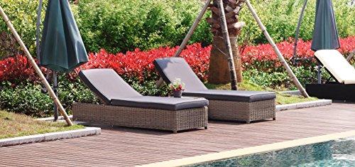 Au jardin de chloé - Ensemble Chaise longue bains de soleil à roulette résine tressée ronde Prestige avec table basse - DUNE OSIER - Osier naturel - 2 places