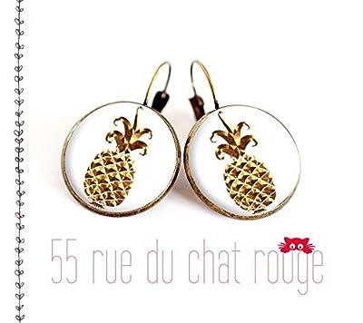 Boucles d'oreilles cabochon de verre 12/14/16/18/20 mm Ananas doré Or fond blanc finition laiton bronze