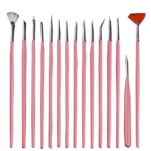 15PC Nail Art Design Peinture Dotting Détails Pen Pinceaux Bundle Outil Kit Ensemble