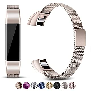 Mornex Strap Compatible Fitbit Alta and Alta HR Metal Bands, Milanese Stainless Steel Adjustable Replacement Accessory Straps Fitness Wristband, Light Gold