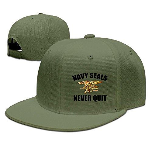 hittings-us-navy-seals-never-quit-adjustable-caps-flat-brim-baseball-hats-forest-green