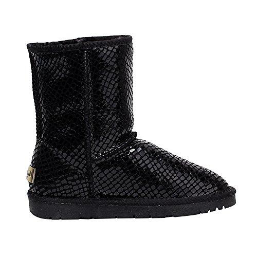 Rismart Damen Neueste Mode Schwarz Paillette Winter Stiefel Warm Fell Gefüttert Schneestiefel Schwarz1