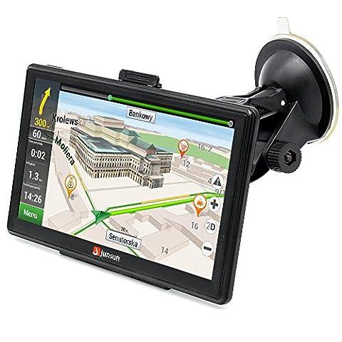 junsun GPS Auto Voiture écran 7 Pouce Haute Sensibilité Grand Écran Capacitif Écran Tactile Multi-languages Diffusion Vocale avec Cartographie Carte Navigation Europe Gratuit à Vie Utilisation Pratique pour Voiture/ Auto/ Camion, etc