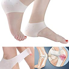 Ramkuwar silicone Gel Heel Pad Socks For Heel Swelling Pain Relief,Dry Hard Cracked Heels Repair Cream Foot Care Ankle Support Cushion - For Men And Women - (Free Size) (1 Pair) (WHITE)