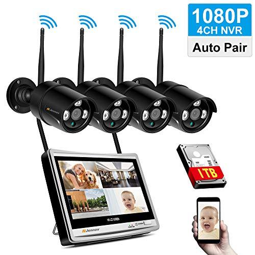 Jennov Überwachungskamera Set mit 12 Zoll LCD Monitor 4CH 1080P HD NVR Wireless Überwachung mit 4 x Sicherheitskamera1TB Festplatte Speicher Kamera mit APP für Außen Innen