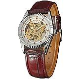 Ganador Hombres de retro classic automático reloj mecánico banda de cuero