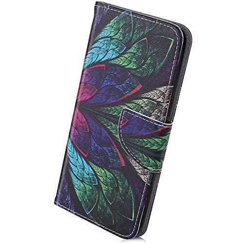 Herbests Hülle Kompatibel mit Samsung Galaxy A6 Plus 2018 Handytasche Handyhülle Ledertasche Vintage Retro Muster Lederhülle Dünn Tasche Leder Schutzhülle mit Standfunktion Kartenfächer,Pfau Feder
