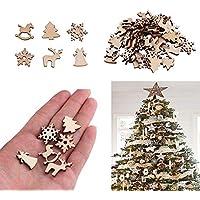 Bangle009 Funny 50Pcs Wooden DIY Christmas Tree Snowflake Star Hanging Ornaments Table Craft