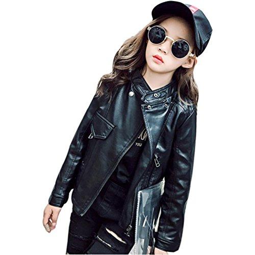 Preisvergleich Produktbild Janly Frühling Herbst Baby Kinder Mädchen Lederjacke Kinder Outwear Mantel Kleidung (8T, Schwarz)