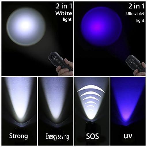 Torcia a LED UV Ultra Violet Torcia Zoom Flash Black Light