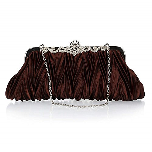 ERGEOB® Donna Clutch sacchetto di sera borsetta Clutch piccola rasotaschino Banchetto taschino matrimonio taschino Borsa della sposa caffè