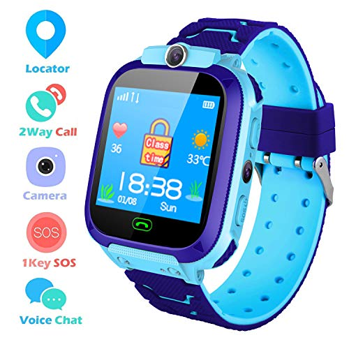 Bhdlovely Kids Smart Watch, Childrens Smartwatch GPS/LBS Tracker Touch Screen SOS Two Way Call Voice Chatting Birthday Gift Toy For Boys Girls(Blue-S9)