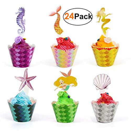 u Party Kuchendeko Cupcake Dekoration Kindergeburtstag 24 Toppers + 24 Wrappers, Unterwasser Mermaid Geburtstagsdekoration, Muffin Cake Tortenstecker für Mädchen ()
