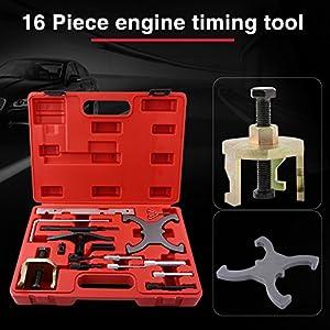 GOTOTOP Coffret 16pcs Outils de Calage du Moteur, Outil Courroie de Distribution, Outil Réparation pour Moteur Essence et Diesel Ford Mazda 1.4 1.6 1.8 2.0