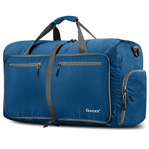 Gonex Leichter Faltbare Reise-Gepäck 60L & 80L & 100L Duffel Taschen Übernachtung Taschen/Sporttasche für Reisen Sport Gym Urlaub, Dunkelblau, 80L
