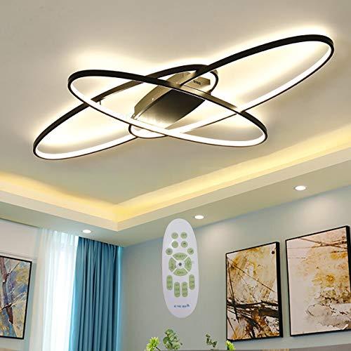 Deckenleuchte/Deckenlampe LED Wohnzimmer Schlafzimmer Lampen Dimmbar mit Fernbedienung Modern Kreative Oval 3 Ring Designer-Lampen Kronleuchter Esstisch Flur Küche Büro Bad Dekor Lampe (Schwarz)