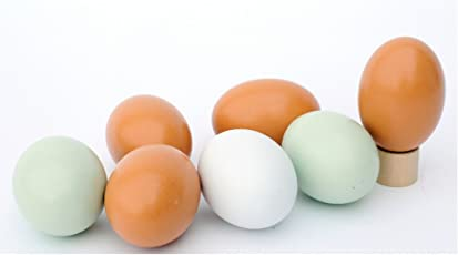 7 Pcs Wooden Fake Eggs Funny Coloring Painted Easter Eggs DIY Decorations Kids Gifts Toys for Christmas Easter Home Party Favors