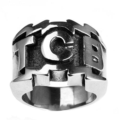 PAURO Herren Edelstahl Gravierte Charakter TCB Silber Ring Größe 54 (17.2)