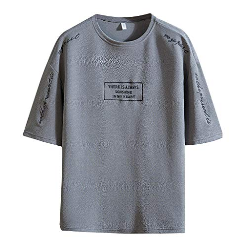 Varsity-streifen-pullover (ODRD Herren Patchwork O-Neck Fake Two T Shirts, Boy Handsome Cool Shortsleeve Vintage Jugend T-Shirt Blouse Tops O-Neck Basic O-Ausschnitt Shirt)