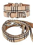 UrbanPup Hundehalsband + Hundeleine, Stoff, Schottenkaro, beige, Set