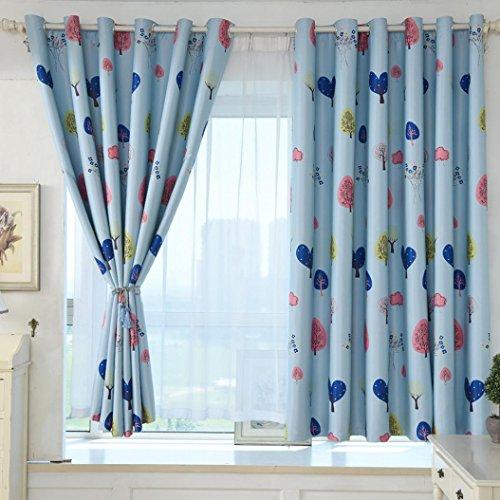 LCLrute 1Pcs Perforierte Love Tree Print Schattierung Vorhang Tür Fenstervorhang Drapieren Panel Schabracken (Blauer) (Mädchen Schlafzimmer Schabracken)
