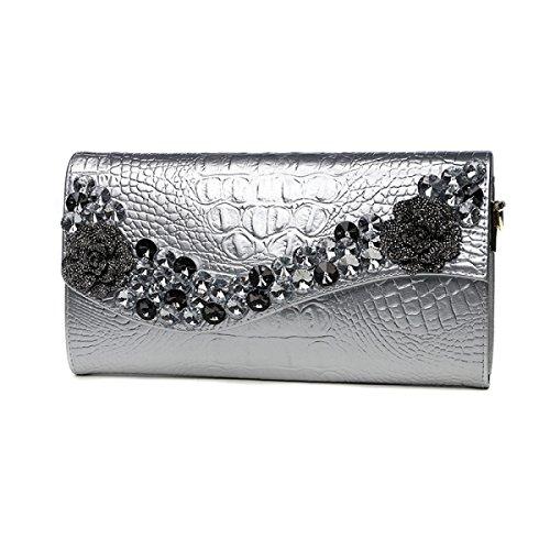 Borse Frizione Di Lusso Strass Da Donna Borse A Tracolla Di Grande Capacità Borse Da Sera Borse A Tracolla Eleganti Silver