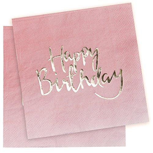 Ginger Ray Papier-Servietten im Ombré-Look veredelt mit Goldfolie, Motiv: Happy Birthday, Pink, Pick and Mix, 20 Stück