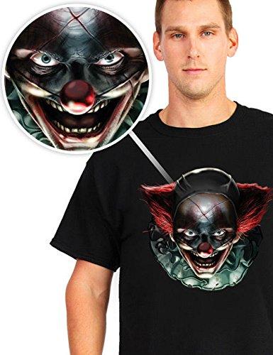 Digital Dudz Bewegliche Augen T-Shirt Halloween Verrückter Clown (Kostüm Dudz)