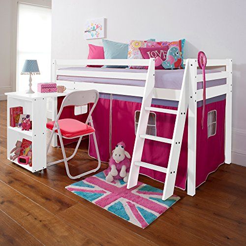 Noa and Nani - Midsleeper Cabin Bed with Desk and Pink for sale  Delivered anywhere in UK