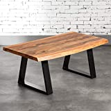 KARAKTER-MÖBEL Couchtisch Tisch Massiv Holz 90x60 Akazie Baumkante Freeform 40MM Eisen Loft