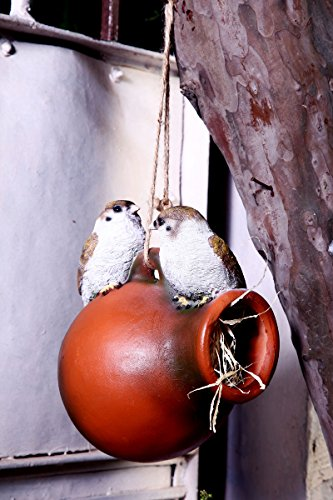 Wonderland Two Birds on a Hanging pot bird house ( bird, hanging garden decor, balcony decor , sparrow , gift)