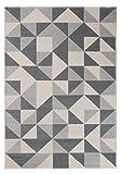 Carpeto Modern Teppich Grau 160 x 230 cm Geometrische Muster Canvas Kollektion