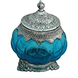 SINGLE ROUND SHAPED BLUE GLASS BOWL OXIDISED WHITE METAL SILVER TRADITIONAL HANDICRAFT DECORATIVE GIFT ITEM PLATTER BURNI SHOWPIECE