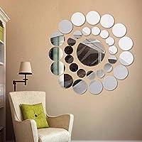 Pegatinas de pared, FAMILIZO 31Pcs desprendible Ronda Decoración de acrílico del hogar de la etiqueta del vinilo del arte de la etiqueta engomada DIY de la pared del espejo 3D (Plata)