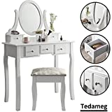 Tedahome Tedamegaeu Vintage White Dressing Table with Mirror and Stool Make-up Dresser Set And Stool