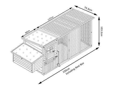 Hühnerstall Hühnerhaus Cocoon Hühnerstall Grosser Hühnerstall 4-6 Hühner mit Nistkasten aufmachbarem Dach für einfache Reinigung, mit Lüftungslöchern, mit stabilen Nistkasten, 30 % größer als Vorläufermodell (3000WX), ca. 250 cm - 4