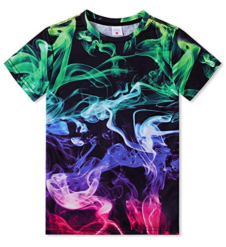 Idgreatim Junioren Jungen Mädchen Kurzarm T-Shirts 3D Druck Bunten Rauch Lässig Cool Tees M