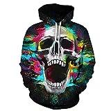 Unisex Paare Schädel Hooded Sweatshirt 3D gedruckt Quick Dry Sweat Shirt Langarm Hoodie Taschen Top WY-11