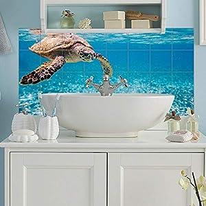 Fliesenaufkleber Schildkröte auf Reisen Fliesen Sticker Aufkleber selbstklebend Wanddeko Bad Meer Ozean Wasser Wall-Art - 20x25 c