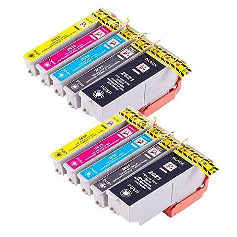 10 26XL cartouches d'encre haute capacité compatible pour Epson Expression premium XP-600 XP 605 XP-700-800 XP imprimantes jet d'encre. 2x T2621 Black, 2x T2632 Cyan, 2x T2633 Magenta, 2x T2634 Yellow, 2x T2631 Photo Black