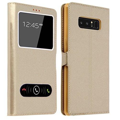 y Note 8 Hülle mit Window für Samsung Galaxy Note 8, Tasche Schutzhülle Case für Samsung Note 8, mehrere (Gold) ()