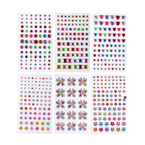 (Strass Aufkleber, lanmu Aufkleber, selbstklebend Edelsteine, Aufklebbarer Kristall Gem Blatt/Bling Craft Jewels Kristall für DIY Handwerk Dekoration, verschiedene Farben/Größe (6Blatt))