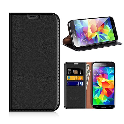 Funda Samsung Galaxy S5, Mobesv Funda Cuero, Carcasa en libro, Ranuras para Tarjetas, Soporte Para Samsung Galaxy S5 / S5 Neo - Negro