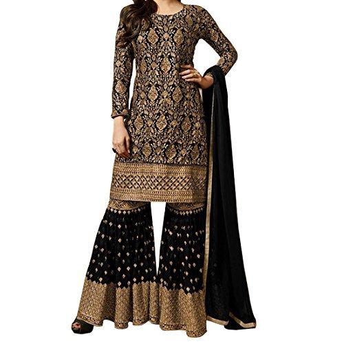 Kings Fashion BazaarWomen's Georgette Semi Stitch Anarkali Salwar Suit (K_Fashion_107108_Black_Free Size)