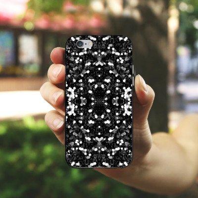 Apple iPhone X Silikon Hülle Case Schutzhülle Glitzer Silber Muster Silikon Case schwarz / weiß