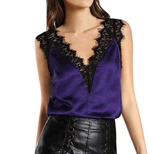 OSYARD Damen Spitze Weste Top Sleeveless beiläufige Tank Bluse Sommer Tops T-Shirt(EU 42/L, Lila)