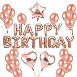 BEMEI Anniversaire Décorations Or Rose Ballons Décorations Aluminium Happy Birthday Bannière Fournitures de Fête Kit