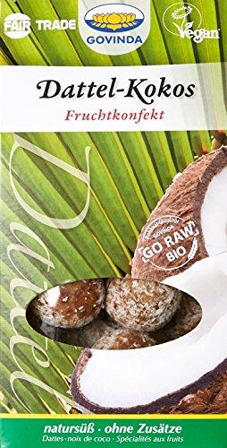 Govinda Bio Sucreries Cruditées Fabriquées aux Dattes et au Coco 120 g