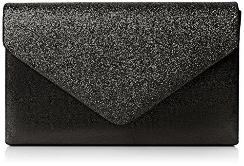 SwankySwans Womens Kelly glitter busta pochette partito Prom borsa frizione, nero (Black (Black)), Taglia unica